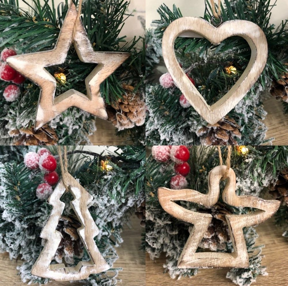 4 Wooden Shabby Chic Hanging Christmas Tree Decorations
